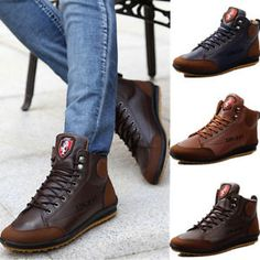 Winter Men s Casual Leather High Top Sneaker Lace-up Work Shoes Ankle Boots   sneakers 847272531