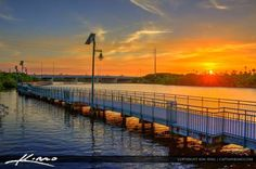 Port St Lucie, Florida Sunset at the Rivergate Boardwalk.