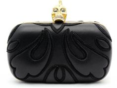 Alexander McQueen Punk Baroc Black Leather Skull Box Clutch