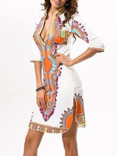 Traditional African Dashiki Print Dress with classic V-Neck Mini Dresses For Women, Sexy Summer Dresses, African Dresses For Women, Casual Dresses, Clothes For Women, Fashion Dresses, Beach Dresses, Casual Wear, Dresses Dresses