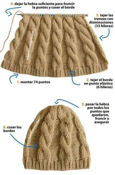 Gorro - Beanie Dos agujas DIY VIDEO