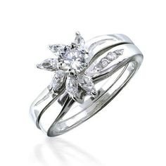 Bling Jewelry Marquise Round CZ Sterling Silver Engagement Wedding Ring Set