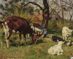 Julius Paul Junghanns: Ziegenpeter mit seinem Vieh in der ersten Frühlingssonne aus unserer Rubrik: Gemälde des 19. Jahrhunderts