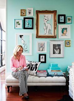 decorology: Inside the fabulous home of fashion illustrator Megan Hess ***waiting room My New Room, My Room, Casa Hygge, Tiffany Blue Walls, Megan Hess, Wall Decor, Room Decor, Chinoiserie Chic, House And Home Magazine
