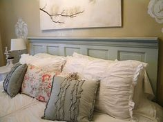 DIY headboard. Blue and coral bedroom