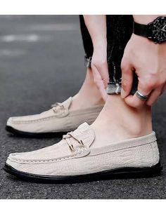 Beige double tie croc pattern leather slip on shoe loafer Mens Slip On Loafers, Mens Slip On Shoes, Leather Slip On Shoes, Loafers Men, White Dress Shoes, Crocodile Skin, Shoe Shop, Loafer Shoes, Shoes Online