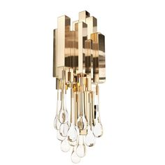 Tower Gold Plated Brass & Crystal Glass Wall Light Sconce