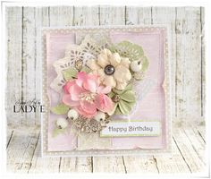 Scrapbooking, handmade cards and papercrafts by Lady E. Vintage, chipboards, shabby and more. Card Making Inspiration, Making Ideas, Card Creator, Shabby Chic Cards, Spellbinders Cards, Birthday Cards For Women, Beautiful Handmade Cards, Pretty Cards, Crafty Projects