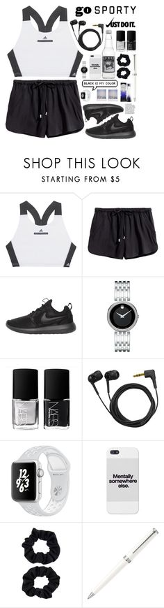 """sporty look"" by anabelisstyle ❤ liked on Polyvore featuring adidas, NIKE, Movado, NARS Cosmetics, Sennheiser, Polaroid, Accessorize and Ghost"