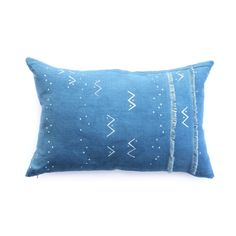 """""""King Bee"""" pillow - Mountains of the Moon """"Loxo"""" print  on indigo with fringe detail"""