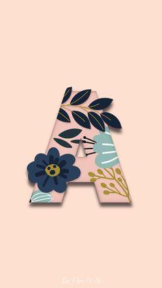 Homescreen Wallpaper, Pink Wallpaper Iphone, Galaxy Wallpaper, Flower Background Wallpaper, Flower Backgrounds, Wallpaper Backgrounds, Monogram Wallpaper, Alphabet Wallpaper, Aesthetic Pastel Wallpaper