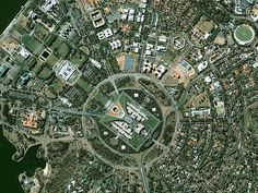 Strange, Beautiful and Unexpected: Planned Cities Seen From Space Canberra,Capital of Australia. Tour Eiffel, Australia Capital, City From Above, New Urbanism, 3d Prints, City Maps, Landscaping With Rocks, Birds Eye View, Urban Planning