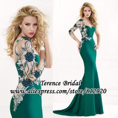 2014 Exotic Green One Shoulder Long Sleeve See Through Beaded Chiffon Floor-length Sheath Sexy Prom Dress $189.00
