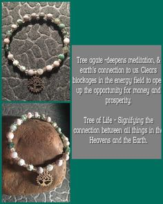 $12 - women's Tree Agate bracelet with Tree of Life charm