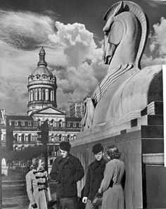 Baltimore War Memorial [horse and eagle] sculpture, Baltimore City Hall in background, Gay Street, between East Fayette Street and East Lexington Street, Baltimore, Maryland, 1943 A. Aubrey Bodine (1906-1970)