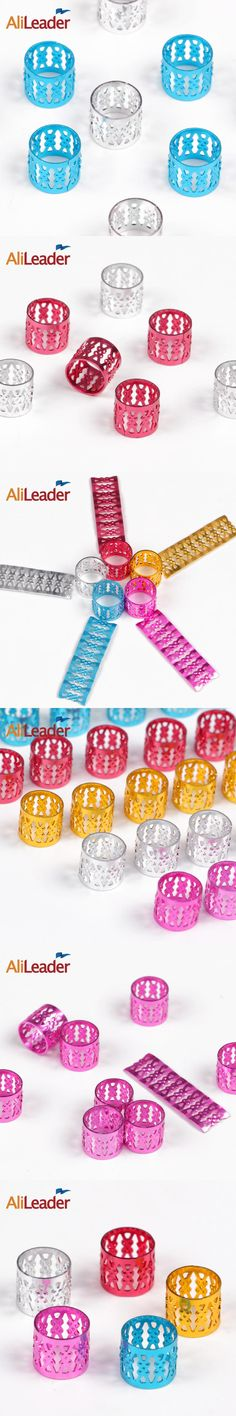 Fashion #Pink #Blue #Red #Silver #Golden Plated Hair Braid Rings For Dreadlocks Alileader Products Metal Dreadlock Beads 100Pcs