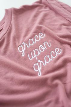 Grace Upon Grace Embroidered Dusty Rose Women's Rolled Cuff Muscle T-S – walk in love.