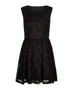 Mela Black Lace Skater Dress  | New Look
