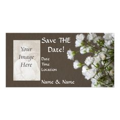 Save-the-Date Floral Photocard Photo Greeting Card