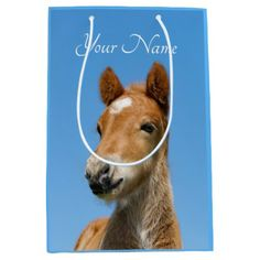 Cute Icelandic Horse Foal Pony Head Photo - Name . Medium Gift Bag - craft supplies diy custom design supply special