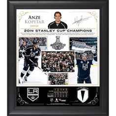 "Anze Kopitar Los Angeles Kings Fanatics Authentic Framed 15"" x 17"" 2014 Stanley Cup Champions Collage with Piece of Game-Used Puck-Limited Edition of 250"