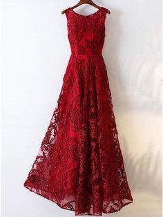 A-Line Crew Floor-Length Dark Red Sleeveless Tulle Prom Dress with Appliques