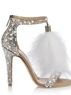 Jimmy Choo ~ Embellished White Crystal Sandal Heel, 2015