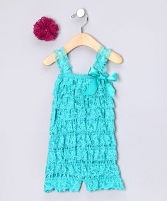 Teal & Purple Lace Romper & Flower Clip - Infant & Toddler | Daily deals for moms, babies and kids