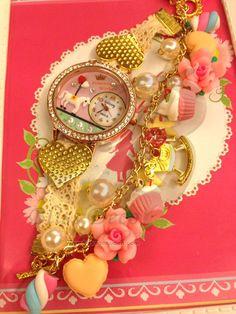 Wristwatch & Bracelet charm  Sweet deco New Arrival by SweetieTiny, $29.99