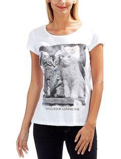 Camiseta con estampado de gato - Kiabi