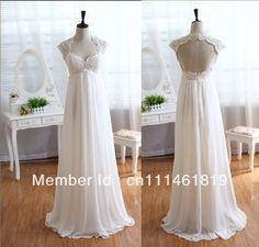 Lace Chiffon Wedding Dress Keyhole Back Dress Empire Waist Dress Maternity Dress US $129.00