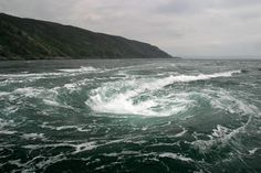 Corryvreckan whirlpool, or maelstrom, in the Gulf of Corrievreckan, which is situated between the islands of Jura and Scarba on Scotland's west coast. The whirlpool is the second-largest of this type in the world and is pictured here from an adventure boat.Photograph © Colin McPherson.