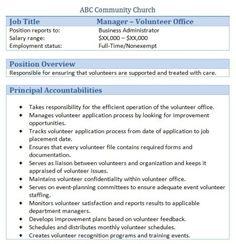 example church volunteer job description volunteers pinterest