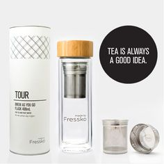 Create your favourite fruit infusion, tea, coffee or cafe creation with the double-walled Fressko Rise: an infuser water bottle and reusable glass tea flask. Water Bottle Gift, Infused Water Bottle, Glass Drinking Bottles, Drink Bottles, Glass Flask, Fruit Water, Blended Coffee, Tea Blends, Kitchens