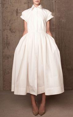 Rosie Assoulin | White Light Cotton Poplin Shirt Dress | Lyst