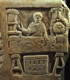 Funerary Relief of a Vegetable Vendor, from Ostia, Italy, painted terracotta, Ancient Roman