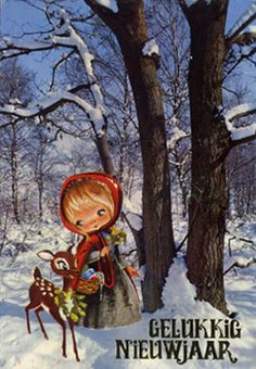 Vintage postcard Happy New Year Little Red Riding Hood cute
