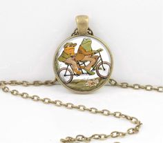 Frog and Toad are Friends Together Gift Pendant Necklace, for Musical gift.