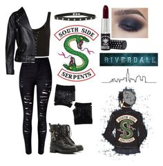 """south side serpent girl"" by dcxiong83 ❤ liked on Polyvore featuring Topshop, WithChic, Acne Studios, RED Valentino, Hot Topic and Forever 21"