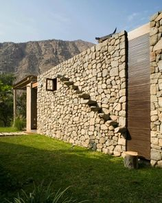Peruvian architect, Marina Vella, has completed Chontay Stone House on a rural site, south-east of Lima. Project By Marina Vella Arquitectos Architecture Design, Facade Design, Exterior Design, Stone Stairs, Stone Facade, Brick And Stone, Stone Work, Stone Houses, Facade House