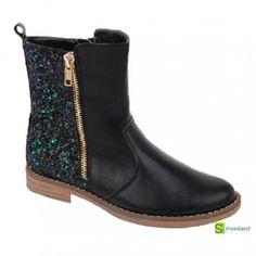 La moda del glitter continúa este otoño invierno con esta bota alta para niñas en color negro y glitter posterior multicolor fabricada para Shoesland A la moda por un precio económico! Del 31 al 36 29,95 euros
