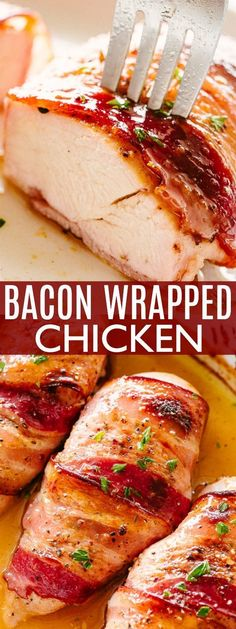 Business Cookware Ought To Be Sturdy And Sensible Maple-Glazed Bacon Wrapped Chicken Breasts - Sweet, Savory, Juicy, And Awesomely Delicious Bacon Wrapped Chicken Dinner Prepared With Just 5 Main Ingredients Baked Bacon Wrapped Chicken, Baked Chicken Breast, Chicken Bacon, Chicken Breasts, Roasted Chicken, Fried Chicken, Garlic Recipes, Bacon Recipes, Healthy Chicken Recipes