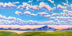 """Saatchi Art Artist MaryAnn Ead; Painting, """"Staccato"""" #art The clouds in the sky pattern themselves like music in the morning. An abstract painted landscape. It is painted on masonite with a wood frame on back for support."""