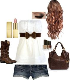 Cut off jeans wire tube top brown belt