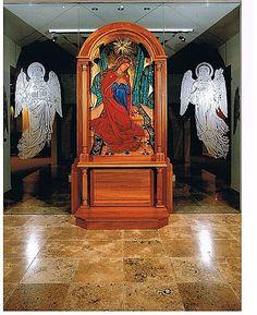 Sacred Art - Glass Work - The Studio of John the Baptist : sacredart.co.nz Blessed Virgin Mary, John The Baptist, Sacred Art, Glass Art, Cathedral, Lion Sculpture, Statue, Studio, Cathedrals