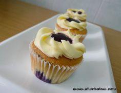 Blueberry Cupcakes with Cream Cheese Swirls