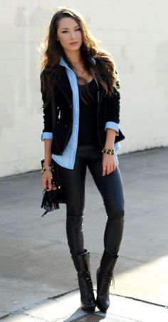 chambray-shirt-with-leather-trousers-and-boots
