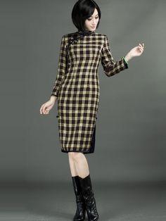 Plaid Long Sleeve Qipao / Cheongsam / Chinese Dress