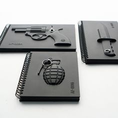 Armed notebook series with covers of weapons and unique pages inside. Material: PVC, paper, metal ring Sizes: Grenade x x Knife x x Revolver x x Artist: Megawing Notes: price is for each notebook. you may pick whichever you like at checkout. Pinterest Instagram, Cool Notebooks, Journals, Creative Notebooks, Accessoires Iphone, Notebook Design, Notebook Ideas, 3d Prints, Granada