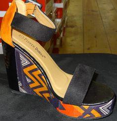 Printed Bright Tribal Design Platform Strappy Wedge Sandal Orange Multi